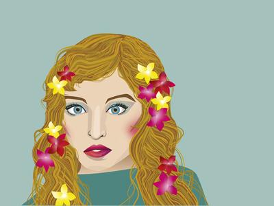 Fawnya digitalart flowers green blue women adobeillustrator graphic design