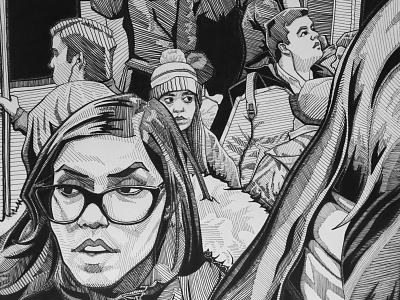 """Crowd"" (2018) Excerpt boston winter portrait woman metro subway public transport black and white drawing fine arts fine art people figures illustration figure drawing dark crowd inks"