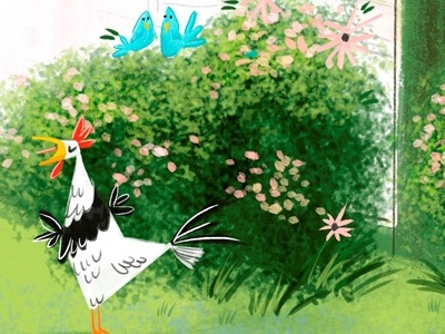 Pindre Cover Rev1 illustration picturebook rooster birds bush grass green farm childrens art