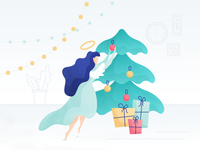 Angel decorates the Christmas tree