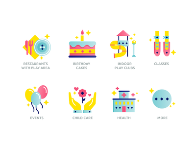 Icons for kids center site restaraunt club play plate love hospital health hand fork event dot classes dance child care birthday  cake baloon ballet