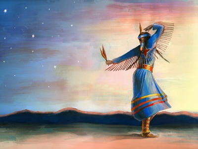 Native American Pow Wow dancer acrylic painter hand drawn brush artist art painting illustration
