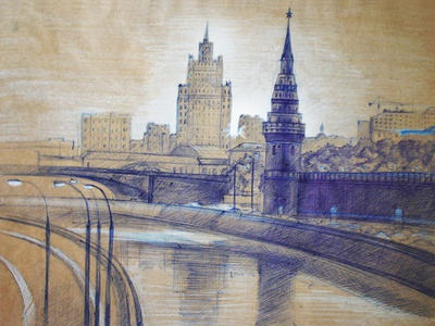 Moscow Illustration drawing draw sketchbook painter painting illustration art illustrator kremlin russia moscow blue landscape town cityscape city pen drawing sketch hand drawn art illustration