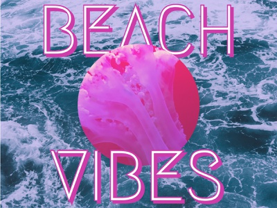 Beach Vibes — Design Template — Social Post pink ocean waves postdesign post poster vibes summer templates typogaphy type colors color visual design visual art visual social media social template design template