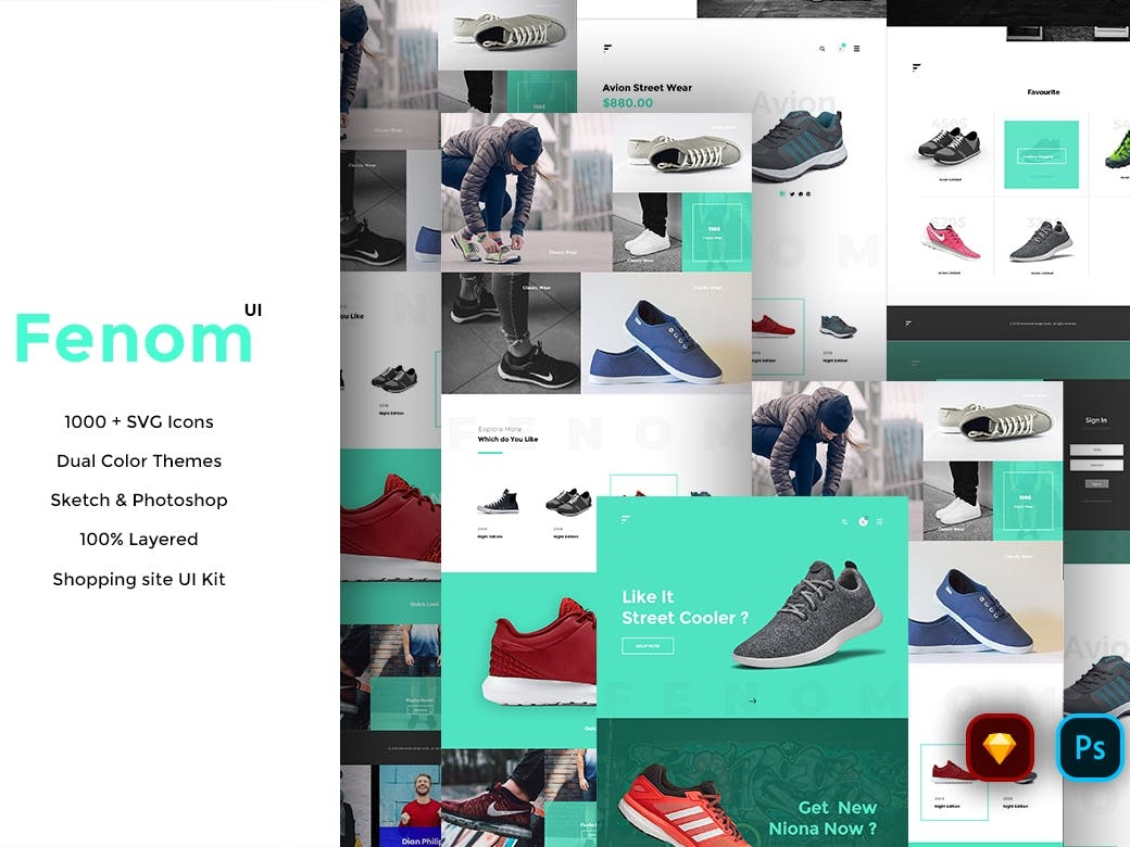 FENOM SHOPPING WEB TEMPLATE AND UI KIT 100 layered shopping ui psd website design shopping website design sketch ui for shopping website minimal shopping ui mordern shopping concept creative shopping template clean mordern simple branding vector creative
