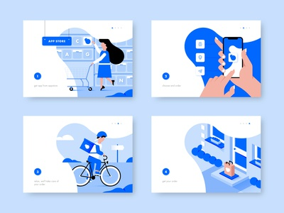 Food delivery service app. Illustrations.