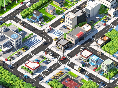 Cartoon City illustration map town city building cartoon lowpoly isometric 3d
