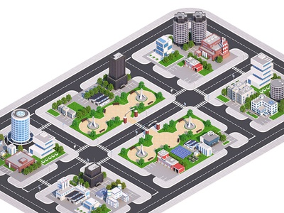 Isometric Low Poly Town.