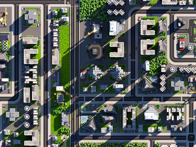 Low Poly City Aerial View