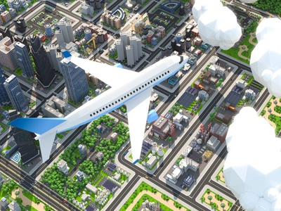 Low Poly City Airplane