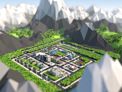 Low Poly City in the Mountains