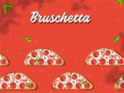 Food illustration - Bruschetta salt bread 2d flat basilic garlic tomato vector design illustrator illustration food italiano italy italian food