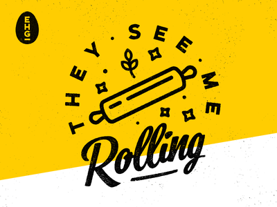They See Me Rollin' wheat stars yellow egghaus ehg rolling pin