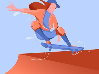 Skateboard flatdesign illustrator dribbble invite dribbble best shot dribbble gfxmob landscape flat gradient design illustration
