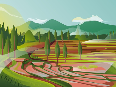 mountain design illustrator gfxmob landscape gradient illustration