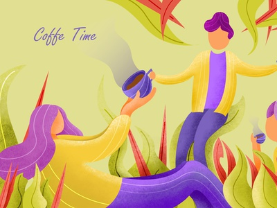 Coffee Time coffee cup coffee coffeeshop dribbble ui flatdesign flat gradient design illustration
