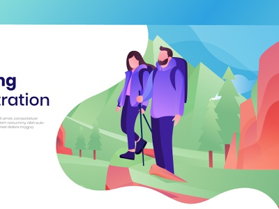 Hiker Illustration hiker dribbble gradient illustartor ui design landing page design landing page illustrator flat ilustration hiking sports illustration hike mountain flatdesign illustration