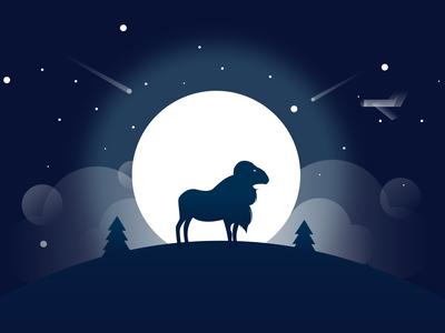 Sheep Moonlight