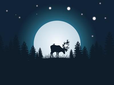 deer moonlight