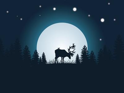 deer moonlight gfxmob light moon star forest wild night deer mountain flat art vector landscape design illustration