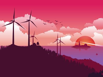 Wind Turbin Landscape cloud sun sunrise sunset afterboon power turbin forest flatdesign gfxmob art mountain flat vector landscape illustration