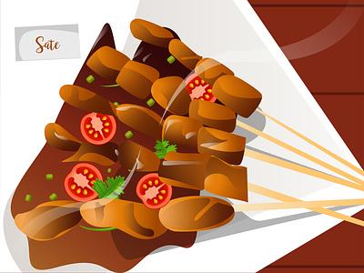 "Indonesian Food "" Sate "" indonesia food illustration gfxmob flat vector gradient design"