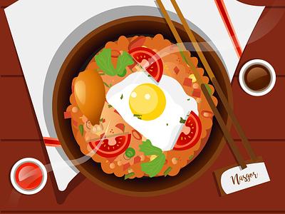 Nasi Goreng food landscape flatdesign flat illustration gfxmob branding design gradient