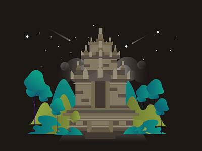 Cangkuang Temple design forest ui flatdesign gfxmob landscape gradient illustration