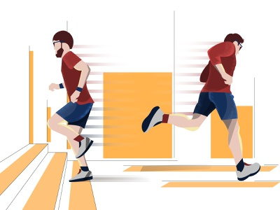 Running Man adobe illustrator man runing flatdesign ui landscape design illustration