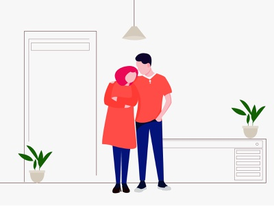 Couple Concept Illustration couple illustrator gradient design flatdesign flat ui illustration