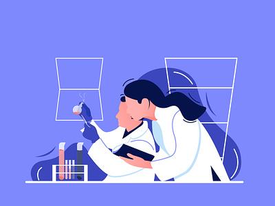 Working in the Lab inspiration ui  ux uiux doctor illustrator laboratory working gfxmob flatdesign flat ui gradient illustration