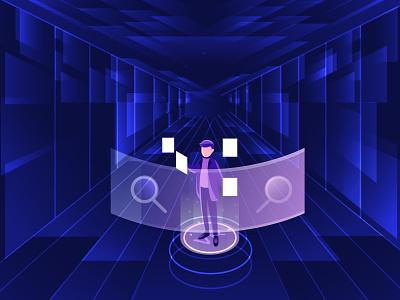 VR Data Vault uidesign webdesign landing page document data flatdesign ui design gradient illustration