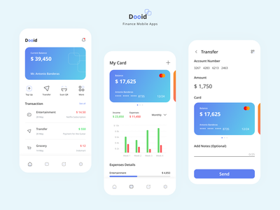 Dooid - Finance Mobile App banking app bank management product finance app design mobile application app minimal ux ui design