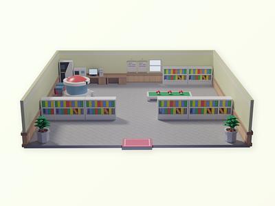 Prof. Oak Lab 3D blender b3d 3d low poly isometric pokemon nintendo prof oak lab illustration