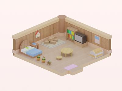 Small room interior design interior small room house harvest moon b3d blender lowpoly isometric illustration 3d