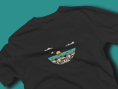 Cycling On The Beach beach tshirt design tshirtdesign tshirt art tshirts tshirt travel traveling vector artwork design artprint illustration