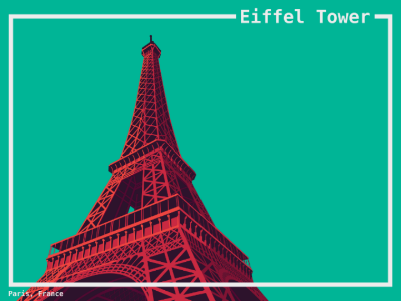 Eiffel Tower artwork artprint print illustration poster world building landmarks landmark traveling travel paris france tower eiffeltower eiffel
