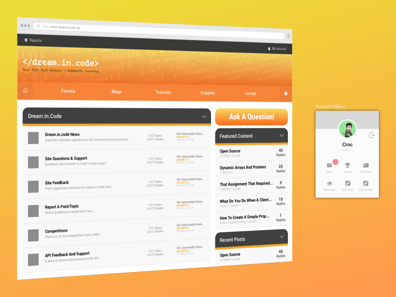 Dream.In.Code Forum Re-imagined development dic mockup uiux redesign forum