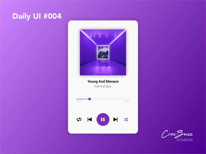 Daily UI #004 fall out boy purple music music player  ux design  uiux  ui design  dailyui affinitydesigner