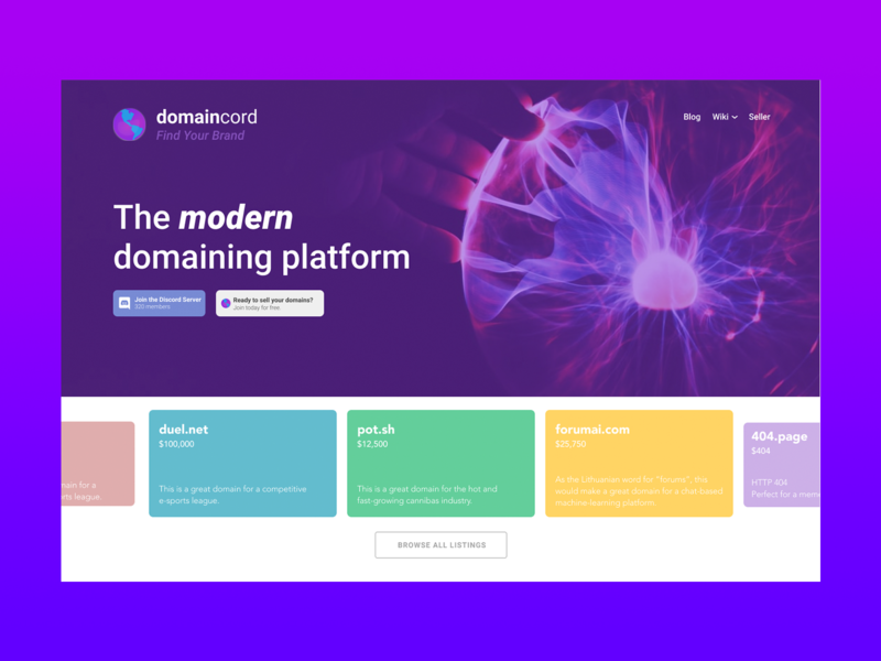 Domaincord.com Design Refresh 2020 photoshop blog landing page widescreen desktop figma ui design ux design web development web design domaincord redesign