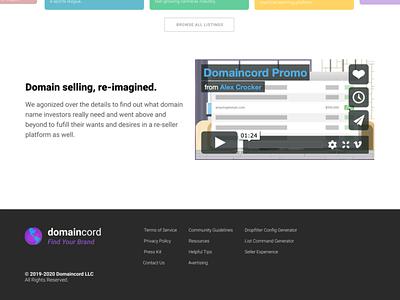 Domaincord.com Design Refresh 2020 photoshop blog landing page widescreen desktop figma ui design ux design web development web design domaincord redesign
