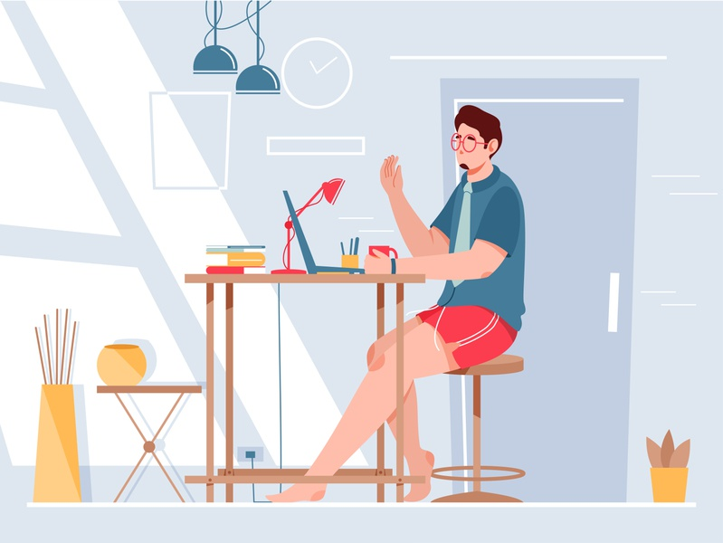 Work From Home branding meeting stay home work from home lockdown design character illustration character design character vector illustration