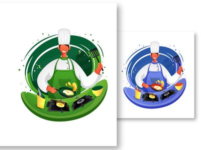 Chef Dribble cooking food app food illustration restaurant branding uiuxdesign ui boy branding colorful art design character illustration character design character vector illustration