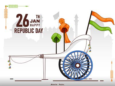 Republic Day Of INDIA flat flatdesign orange green tiranga 26jan colors design republic day india beauty art colorful indian vector illustration