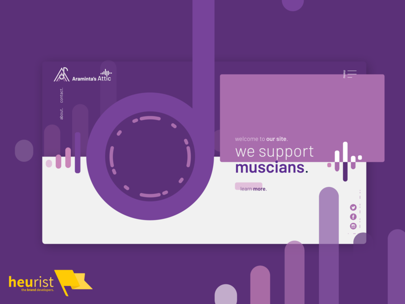 Website layout for a music-oriented marketing group marketing attic music artwork sound waves sound clef music purple logo ui minimal illustration agency heurist - the brand developers heurist