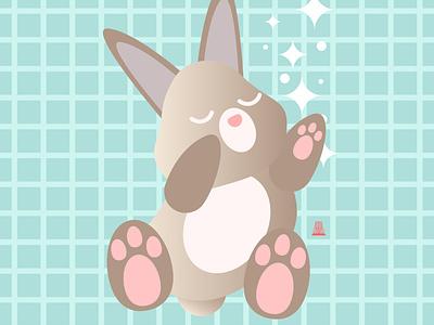 Sleep everywhere mascot character mascot design bunny vector logo illustration