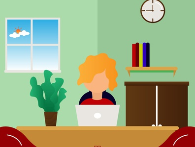Female Graphic Design Freelancer Activity Illustration