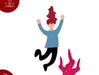 Jump Gesture Flat Illustration