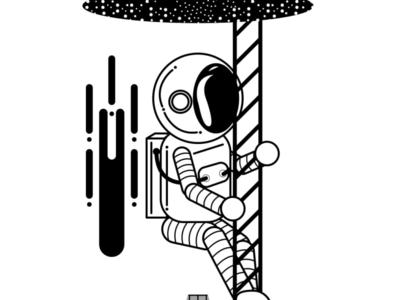 Astronaut Illustration vector flat branding art logo design illustration