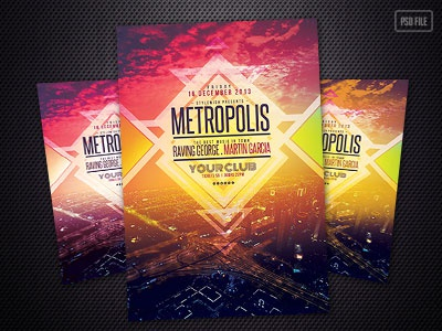 Metropolis Flyer metropolis music stylewish poster design music flyer festival flyer city skyline alternative flyer template psd